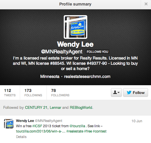 Wendy Lee's twitter post