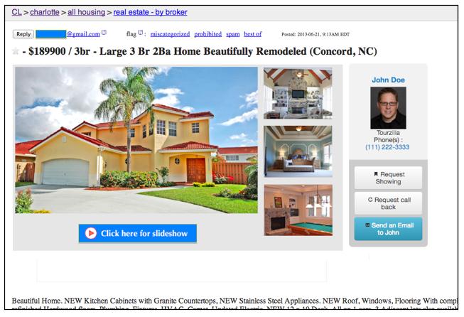 Real Estate post on Craigslist